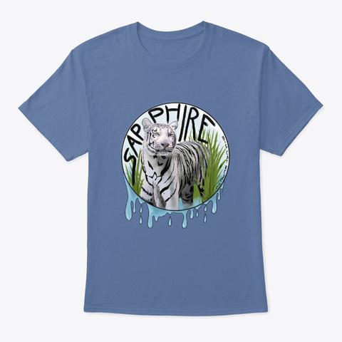 Splashy Sapphire White Tiger Denim Blue T-Shirt Front