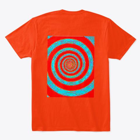 Green & Red/Blue Hypnotic Neon Spirals Deep Orange  T-Shirt Back