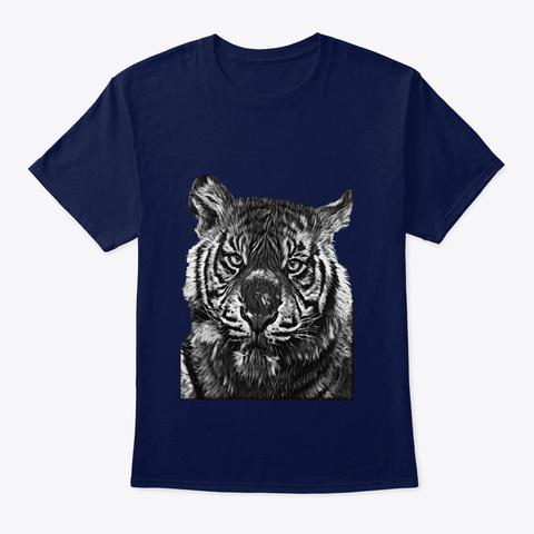 Tiger Large Cat Jungle Wildlife Navy T-Shirt Front