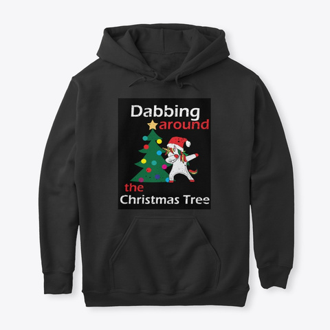 Dabbing Around The Christmas Tree Black T-Shirt Front