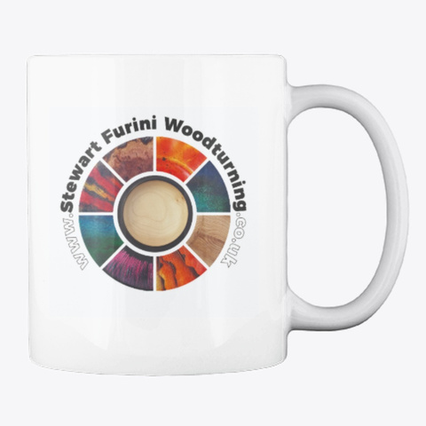 Stewart Furini Woodturning Mug White T-Shirt Back