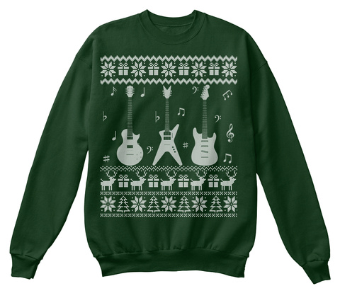 New Guitar Ugly Christmas Sweater Gifts Deep Forest  T-Shirt Front