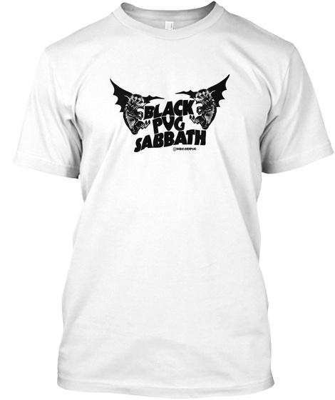 Black Pug Sabbath White T-Shirt Front
