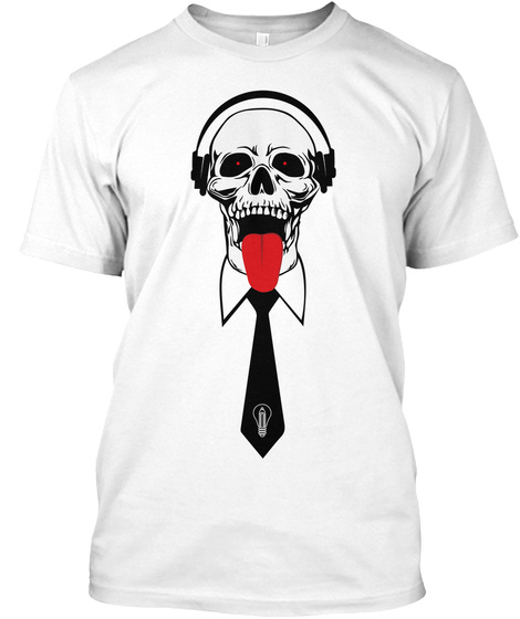 Skull And Tie White T-Shirt Front