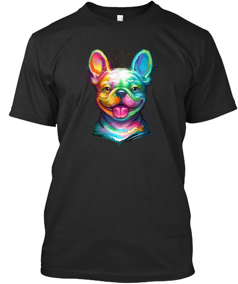 Happy Frenchie Black T-Shirt Front