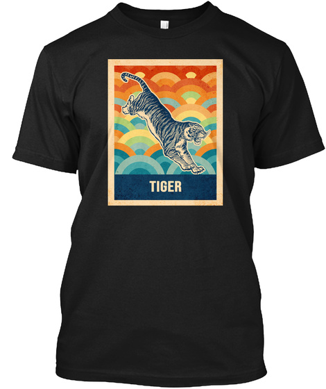 Retro Vintage Tiger Silhouette Black T-Shirt Front