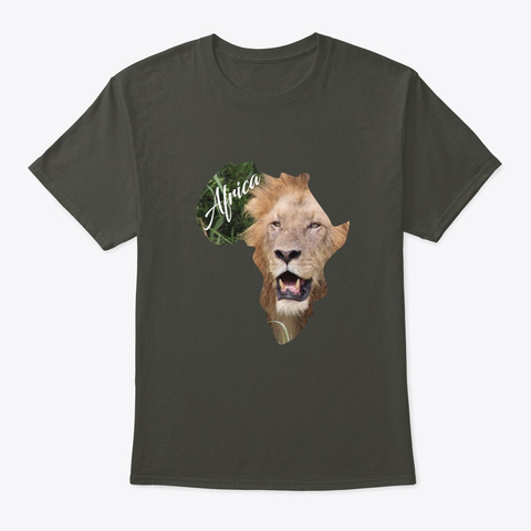 Africa With Lion Fill Smoke Gray T-Shirt Front