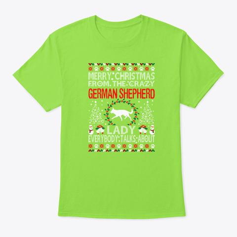 Christmas German Shepherd Dog Lady Ugly Lime T-Shirt Front