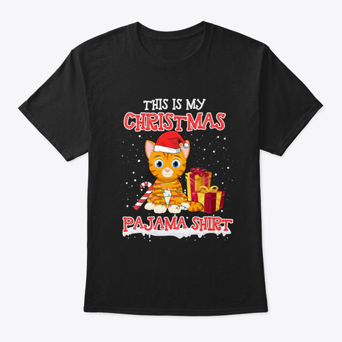 Merry Cat Christmas T Shirt Black T-Shirt Front