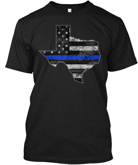 Texas Thin Blue Line Black T-Shirt Front