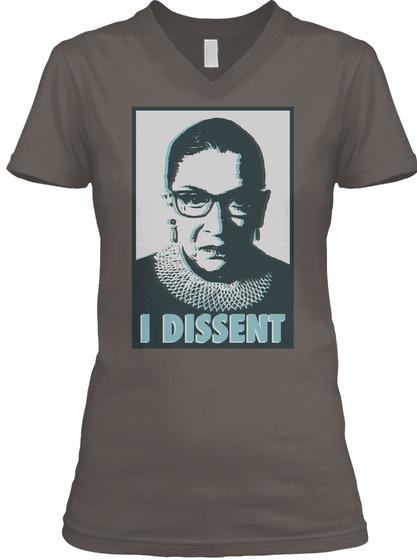 Notorious Rbg   I Dissent V Necks Asphalt T-Shirt Front