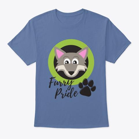 Furry Pride   Wolf Denim Blue T-Shirt Front