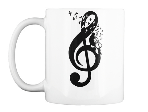 Treble Clef   Cello White Mug Front