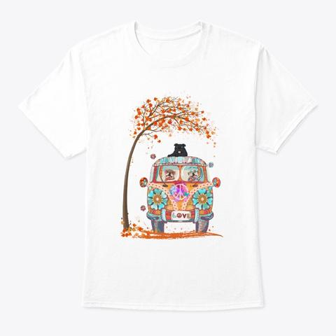 Maple Falling Autumn English Bulldog Tee White T-Shirt Front