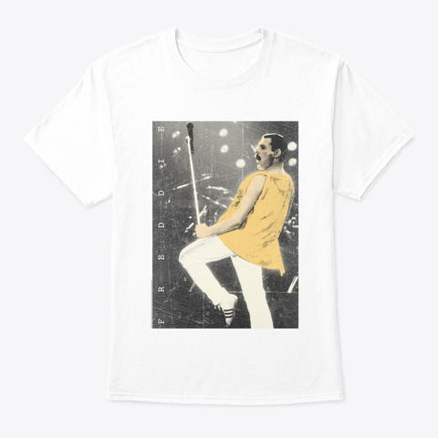 Freddie Mercury Official Live Pose Yellow Icon Old White T-Shirt Front