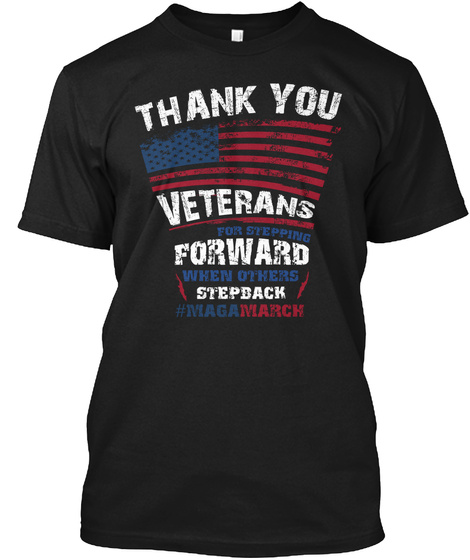 Veterans For Trump   Maga March Tshirt Black T-Shirt Front