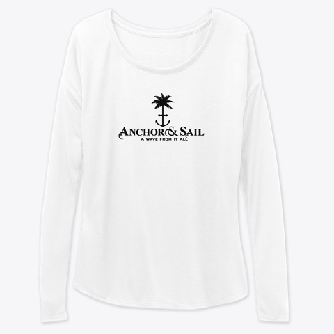 Anchor And Sail Palm Tree White T-Shirt Front