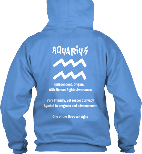 Aquarius Hoodie Carolina Blue T-Shirt Back
