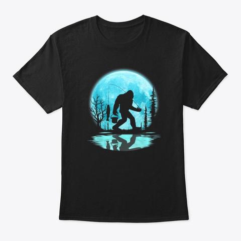 Bigfoot Fishing Under The Moon Black T-Shirt Front