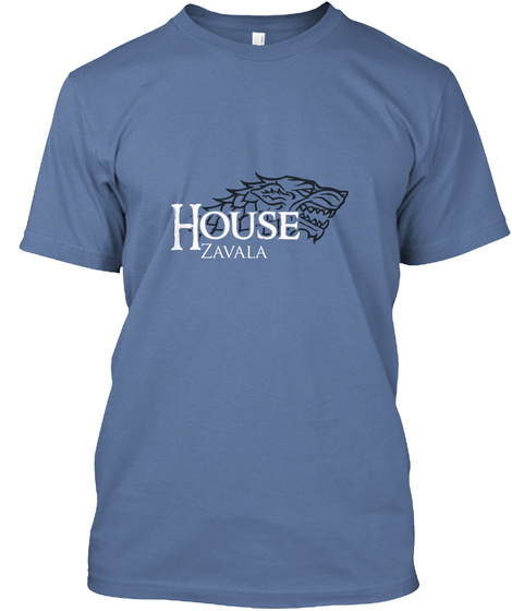 Zavala Family House   Wolf Denim Blue T-Shirt Front