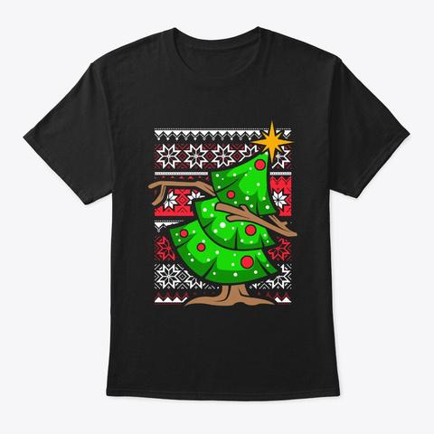 Ugly Christmas Dabbing Christmas Tree | Black T-Shirt Front