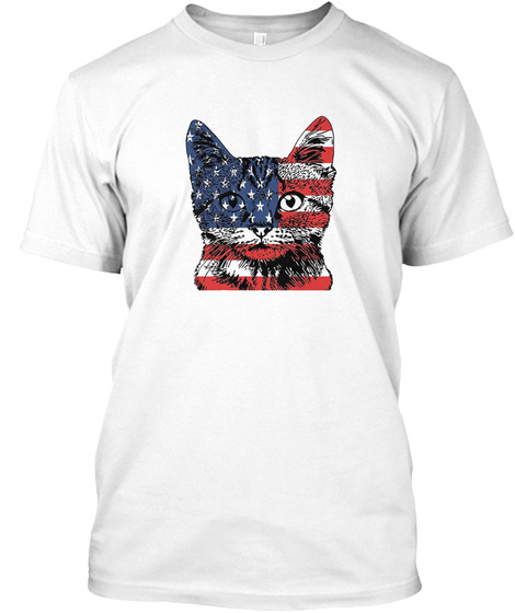 Funny Cat Independence Day Shirt White T-Shirt Front