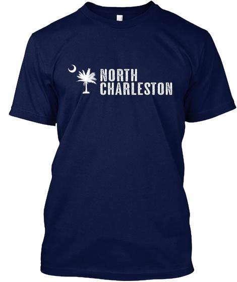 North Charleston South Carolina Palm Navy T-Shirt Front