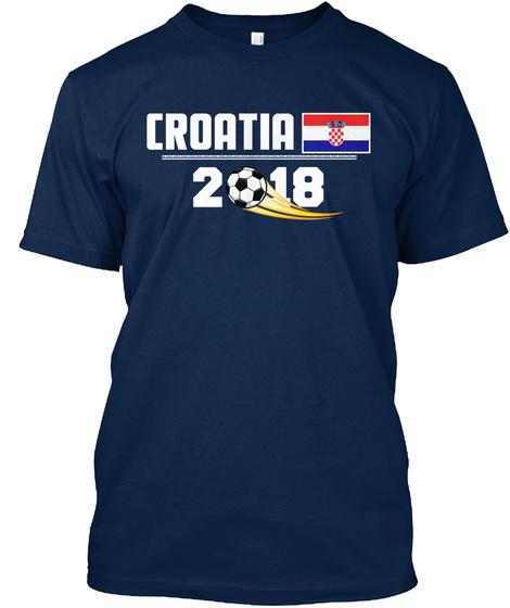 3c105a5bb87 from World Football Fans. Croatia Soccer Shirt Football 2018 Cup Navy T- Shirt Front