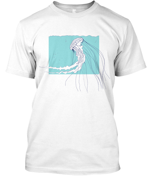 Cool Blue Jellyfish White T-Shirt Front