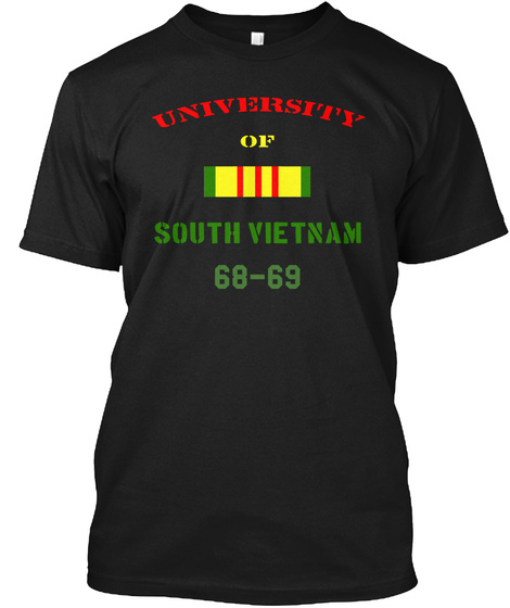 University Of South Vietnam 68 69 Black T-Shirt Front