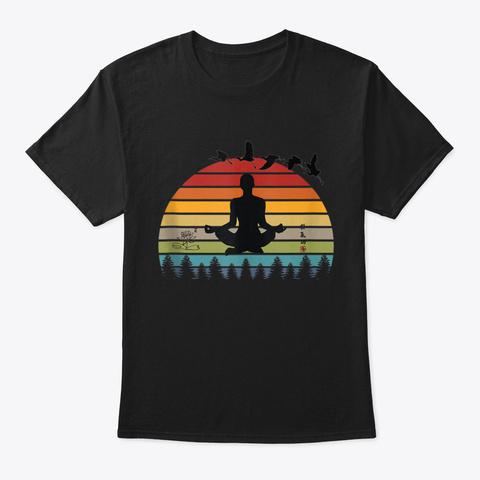Funny Meditation Yoga Men And Women Suns Black T-Shirt Front