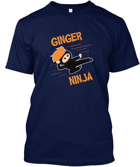 Funny Ginger Ninja Ginga Red Hair Power Navy T-Shirt Front