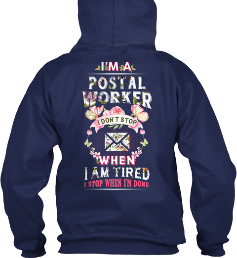Awesome Postal Worker Navy T-Shirt Back