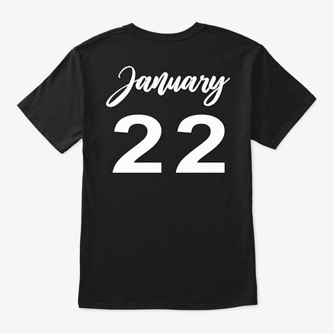 January 22   Aquarius Black T-Shirt Back
