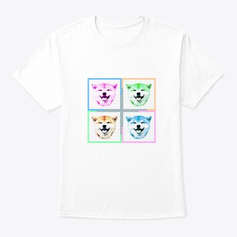 Pop Art Shiba (2) White T-Shirt Front