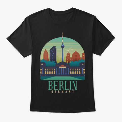 Germany Skyline Berlin Souvenir Gifts Black T-Shirt Front