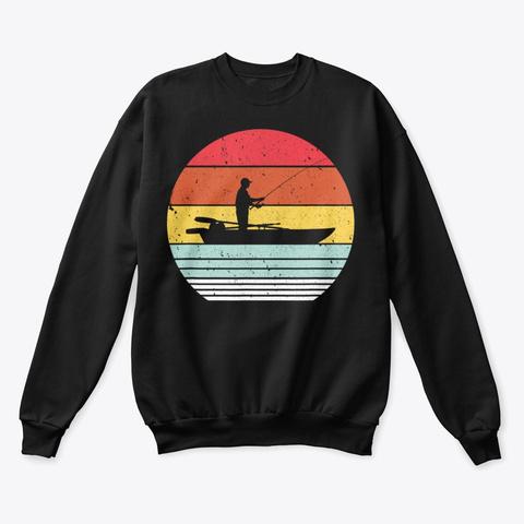 Fishing Shirt Retro Style T Shirt  Black T-Shirt Front