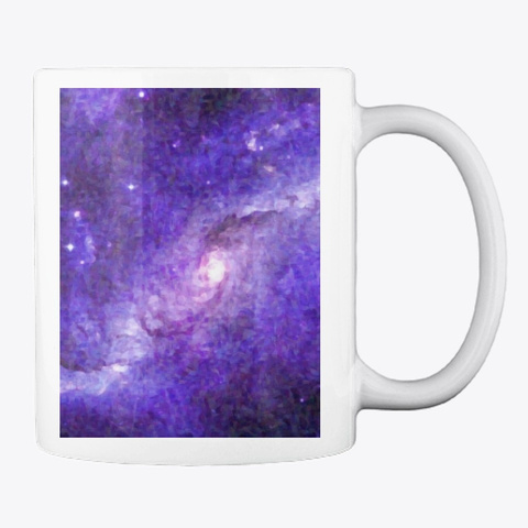 Impressionist Galaxy In Purple Art White T-Shirt Back