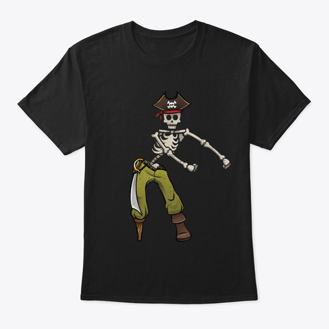 Funny Flossing Pirate Skeleton Halloween Black T-Shirt Front