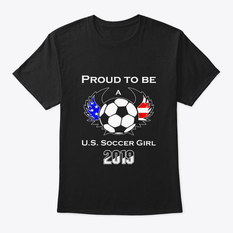Funny Proud Us Women Soccer Girl Ball Black T-Shirt Front