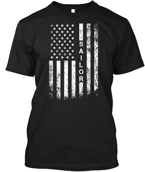 American Flag Sailor Shirt Black T-Shirt Front