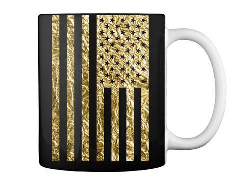 American Flag Gold Foil Effect Mug Black Mug Back