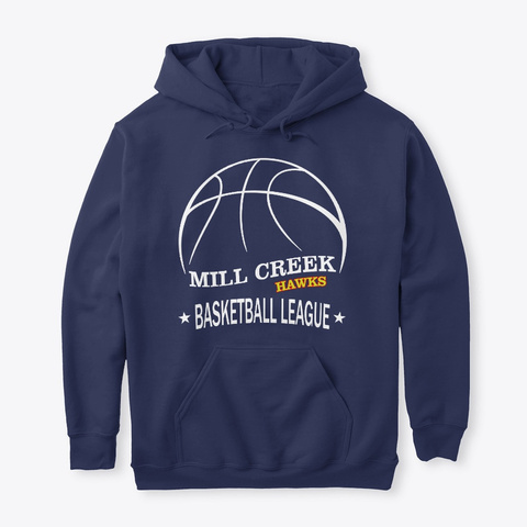 Mill Creek Hawks Basketball League Navy T-Shirt Front