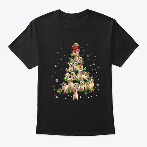 Cute Cavachon Dog Lover Christmas Tree  Black T-Shirt Front