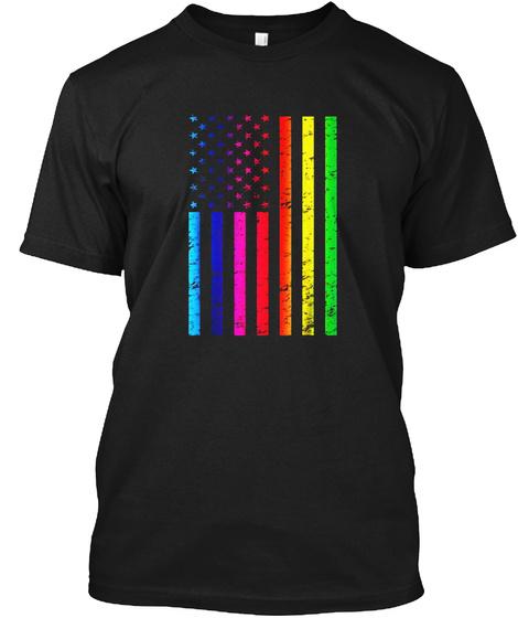 Gay Pride American Flag Rainbow Lgbtq Equality T Shirt Black T-Shirt Front