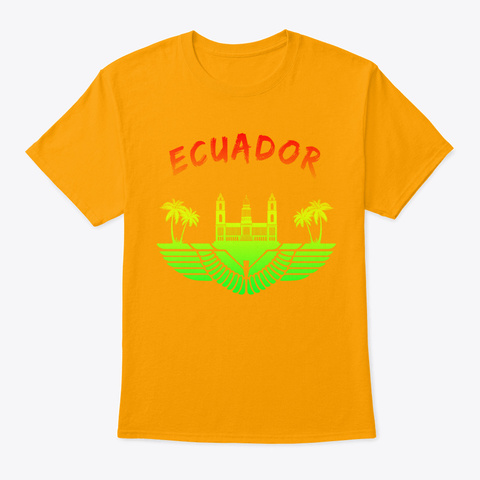 Ecuador Palace With Palm Trees Gift Gold T-Shirt Front
