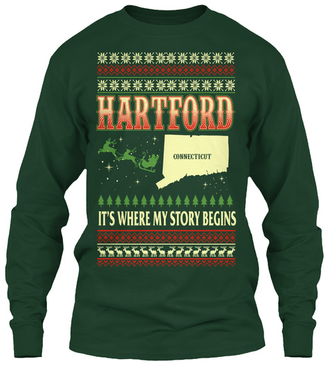 Hartford Connecticut It's Where My Story Begins Forest Green T-Shirt Front