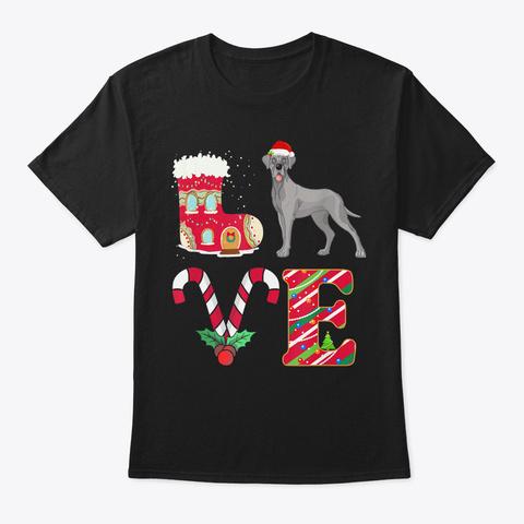 Mens I Love My Great Dane Funny Christma Black T-Shirt Front