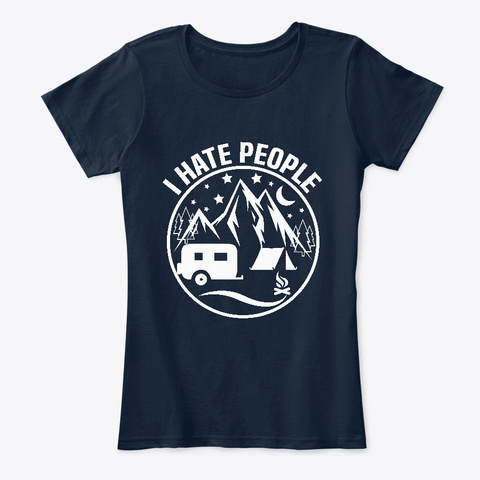 I Hate People New Navy T-Shirt Front