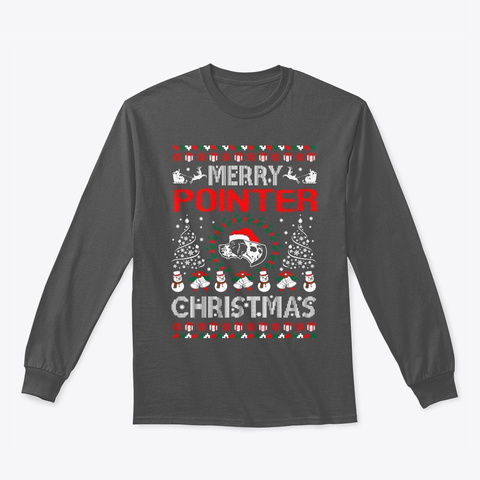Merry Pointer Christmas Ugly Sweater Charcoal T-Shirt Front